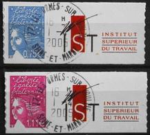 FR. 2004 - Marianne Du 14 Juillet N° 3729B/29D Avec Vignette Oblitérée - Autoadhésifs - P. Etat - Personalized Stamps