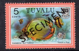 Tuvalu 1979-81 Fish Definitives 5c Melon Butterflyfish Optd. Specimen, MNH, SG 108 (BP2) - Tuvalu