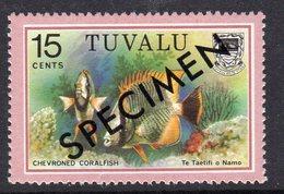Tuvalu 1979-81 Fish Definitives 15c Chevron Butterflyfish Optd. Specimen, MNH, SG 112 (BP2) - Tuvalu