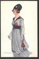 Cpa...illustrateur Italien...Bompard ..art Nouveau...femme Avec Canne Et Sac... - Bompard, S.