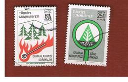 TURCHIA (TURKEY)  -  SG  2607.2608  - 1977  FOREST CONSERVATION (COMPLET SET OF 2)    - USED - Brieven En Documenten