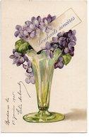 L170A264 - Très Jolie Bouquet De Violettes Sur Carte Précurseur - Fantaisies