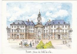 RENNES: Place De L'Hôtel De Ville ,Aquarelle Originale De Robert LEPINE   N° 15 35 0033* (neuve) - Other