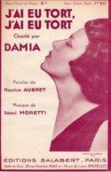 PARTITION J'AI EU TORT DE AUBRET / MORETTI  PAR DAMIA - ANNEES 1931 - EXC ETAT PROCHE DU NEUF - - Music & Instruments
