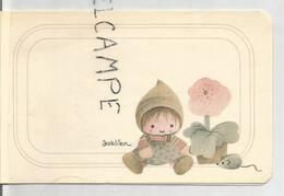 Mignonnette Double. Petite Fille, Fleur Et Souris. Signé Jaklien. Caroline Trommenée Le 25 Novembre 1979 à Liège. - Naissance & Baptême