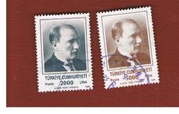 TURCHIA (TURKEY)  -  SG  3050.3051  - 1989  K. ATATURK (COMPLET SET OF 2)   - USED - 1921-... Republiek