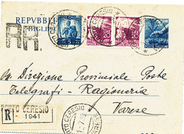1950 BIGLIETTO POSTALE DEMOCRATICA RACCOMANDATO - 1946-60: Storia Postale