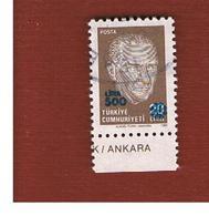 TURCHIA (TURKEY)  -  SG  3052  -  1989  K. ATATURK (OVERPRINTED 500)   - USED - 1921-... Republiek