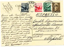 1946 CARTOLINA POSTALE ESPRESSO QUADRICOLORE CON CENTESIMI - 6. 1946-.. Repubblica