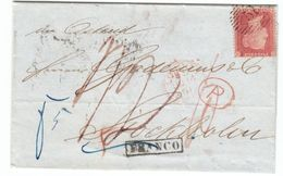 United Kingdom To Sweden 1861 Lettersheet London To Stockholm, 14d Paid In Cash, Late Fee Paid With Penny Red (u19) - Briefe U. Dokumente