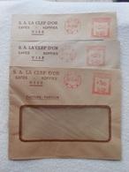 3 Enveloppes Café La Clef D'or Visé  Machines à Affranchir 1930 - Machines à Affranchir