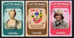 Tuvalu 1982 Princess Diana 21st Birthday Set Of 3, MNH, SG 184/6 (BP2) - Tuvalu