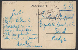 Marcophilie - CP Vue En S.M. + Griffe De Fortune AERSCHOT Vers Gent / Gand - Poststempel