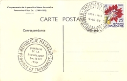 Madagascar 1959 -  CP Avec Cachet Cinquantenaire De La Première Liaison Ferroviaire Tananarive/Côte Est - YT 337 - Madagaskar (1960-...)