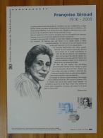 écrivain Writer Journaliste Francoise Giroud Document Officiel FDC Folder 2016 With Proof And Stamp - Berühmt Frauen