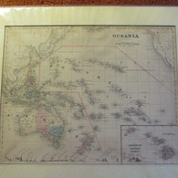 1866 Map OCEANIA    Australia  Hawaii Polynesia  MATTED - Geographical Maps