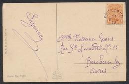 """Marcophilie - N°135 Sur CP Fantaisie + Cachet De Fortune """"Eeckeren"""" (1918) Vers Berchem-lez-Anvers. - Postmark Collection"""