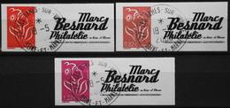 FR. 2005/06 - Marianne De Lamouche N° 3802A/02B/02C Avec Vignette Marc Besnard Oblitérée - Autoadhésifs - P. Etat - Personalized Stamps
