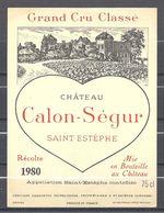 Etiquette - Château Calon-Sègur 1980 St-Estèphe - Bordeaux