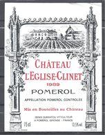 Etiquette Vin Chateau L'EGLISE-CLINET 1989 POMEROL - Bordeaux