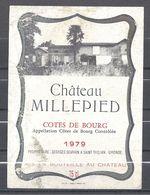 Etiquette - Château Millepied Côtes De Bourg 1979 - Bordeaux