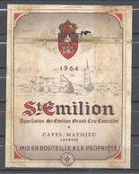 Etiquette - St Emilon Grand Cru 1964 - Bordeaux