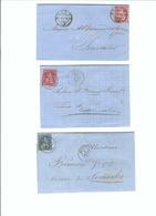SUISSE 1867-70: 3 Enveloppes  D'Ouchy, Romont Et Vevey Pour Semsales - Lettres & Documents