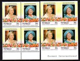Tuvalu 1985 Queen Mother 30c Perf. & Imperf. Blocks Of 4, MNH, SG 336/7 (BP2) - Tuvalu