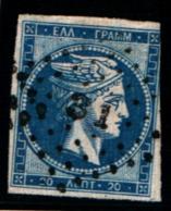 10277) 1872-76 Greece/Grecia, 20 Lepta Blu - N° 37- USATO- - Oblitérés