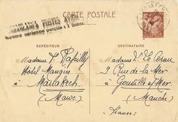 Maroc - 27/08/1941 - CP Type Iris 80 C - De Marrakech à Gouville S/ Mer - Flamme : Taxe Aérienne Perçue : 1 Franc - Maroc (1891-1956)