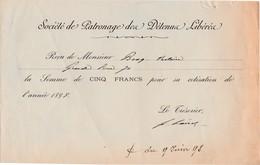 Reçu 1898 / Sté Patronage Des Détenus Libérés / Prisonniers / Guerre / 25 Besançon - Documenten