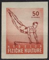 1950's Yugoslavia - Gymnastics / Horizontal Bar - Sport Week - Membership / Charity Stamp Label Vignette Cinderella - Gymnastik