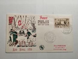Deutsche Ersttagsbrief  Rote Kreuz 1956 - Saarbruecken