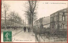 CPA 81- ALBI - Le Boulevard De Strasbourg -animée Voyagée 1908- Recto Verso- Paypal Sans Frais - Albi