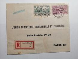 Saar Briefumschlag Saarbrucken Bis Paris 1957 - Lettres & Documents