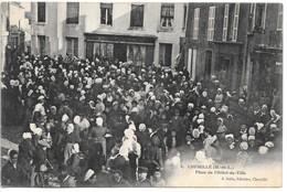 Cpa...Chemillé...(M.-et-L.)..place De L'hotel De Ville....animée...1911... - Chemille