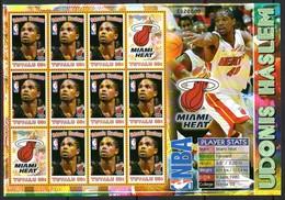 Tuvalu 2006 Basketball NBA Players Miami Heat Sheetlet, MNH, SG 1190a (BP2) - Tuvalu