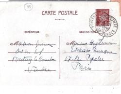 85 - VENDEE -  FONTENAY LE COMTE   TAD DE TYPE A4 / 1943 - Marcophilie (Lettres)