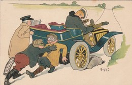 CPA Lithographiée Automobile Tacot Voiture Crevaison Fantaisie Illustrateur (2 Scans) - Cartoline