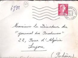 47 . LOT Et GARONNE . STE LIVRADE SUR LOT . OBL. TYPE SECAP . 1955 - Postmark Collection (Covers)