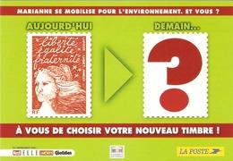 CP Pub. Représentation Timbres - Marianne De Jumelet, La Poste, France - Entier Postal - Briefmarken (Abbildungen)