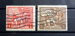 GB KGV 1924 SG430/431 British Empire Exhibition S&B LD Perfin Fine Used F/U. - Great Britain