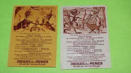 Image Récompense D'école - FABLE DE LA FONTAINE - RARE  Lot De 2 Images - PUB Collecteur Chocolat MENIER / 156 - Autres