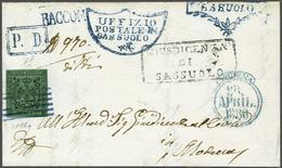 Modena 1856 Entire SASSUOLO To MODENA, PD RACCOM 5 C. Green, Registration Paid In Cash (1327) - Modena