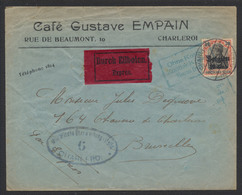 """Guerre 14-18 - OC19 Sur Lettre Expres """"Café Gustave"""" Obl à Pont Charleroi + Censure Vers Bruxelles / Encadré Bleu """"Sans - [OC1/25] Gouv. Gén."""