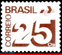 Ref. BR-1252 BRAZIL 1975 ., NUMERAL, POST OFFICE, EMBLEM, PHOSPHORESCENT BAR, MNH 1V Sc# 1252 - Ungebraucht