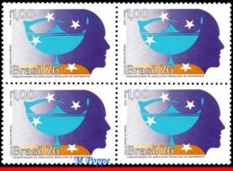 Ref. BR-1468-Q BRAZIL 1976 HEALTH, NURSES' ASSOCIATION, 50TH, ANNIV., MI# 1553, BLOCK MNH 4V Sc# 1468 - Blokken & Velletjes