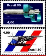 Ref. BR-1694+1700 BRAZIL 1980 PLANES, AVIATION, GRAF ZEPPELIN, ATLANTIC, CROSSING, MI# 1768-69,MNH 2V Sc# 1694+1700 - Brazilië