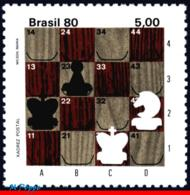 Ref. BR-1723 BRAZIL 1980 CHESS, PORTABLE CHESS BOARD,, POSTAL CHESS CONTEST, MNH 1V Sc# 1723 - Brazilië