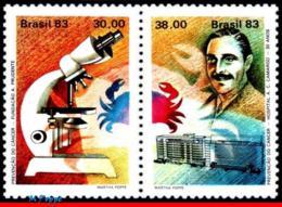 Ref. BR-1849A BRAZIL 1983 HEALTH, CANCER PREVENTION,, MICROSCOPE, MI# 1956-1957, SET MNH 2V Sc# 1849A - Brésil